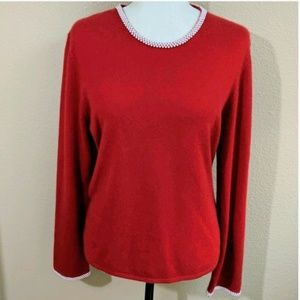 Sweaters - Cashmere 100% 2-ply Pearl Trim SWEATER